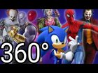 360 Sonic vs Joker vs Harley Quinn vs Pennywise and Spiderman Dance battle #4 in Virtual Reality!